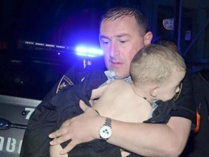Rescued baby. This kid will remember this policeman forever.